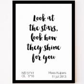 custom made geboorteposter look at the stars