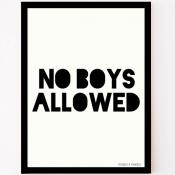 zwart-wit poster no boys allowed